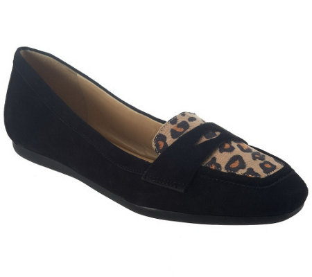 """As Is"" Isaac Mizrahi Live! Suede Loafers with Novelty Trim"
