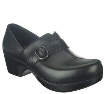 """As Is"" Dansko Leather or Nubuck Slip-On Shoes w/ Strap - A265767"