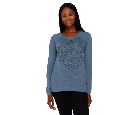 LOGO by Lori Goldstein Slub Knit Top with Front Embellishment