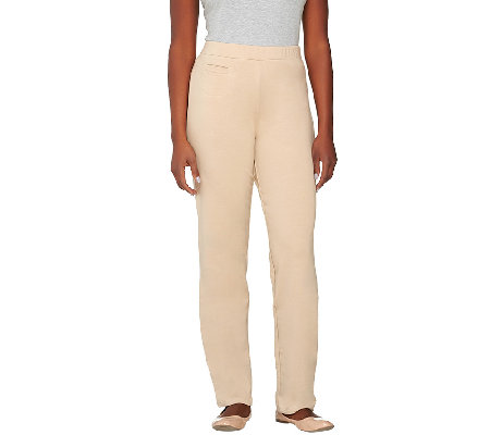 """As Is"" Susan Graver French Terry Straight Leg Pull-On Pants"