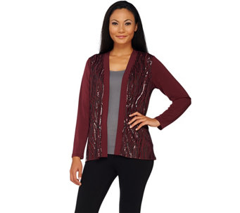 Bob Mackie's Open Front Knit Jacket with Waterfall Sequin Front - A269567