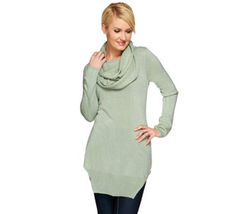 Attitudes by Renee Scoop Neck Sweater and Scarf Set - A270667