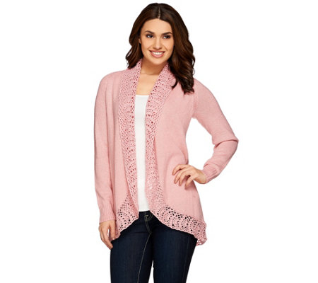 Liz Claiborne New York Open Front Cardigan w/ Crochet Trim