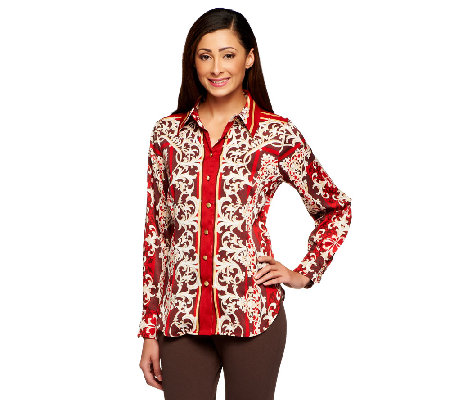 """As Is"" Status by Star Jones Printed Woven Button Front Shirt w/Collar"