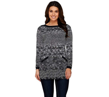 Susan Graver Printed Liquid Knit Bateau Neck Long Sleeve Tunic