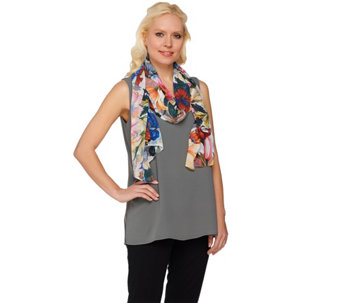 Isaac Mizrahi Live! Multi Floral Printed Scarf - A273667