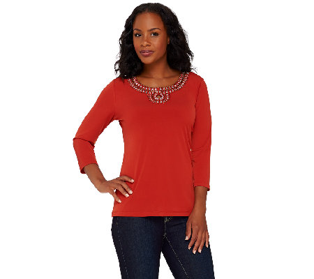 """As Is"" Susan Graver Artisan Liquid Knit Embellished Top with Keyhole"