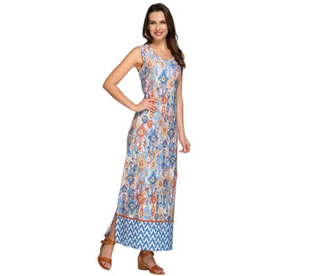 Denim & Co. Petite Tribal Border Printed Maxi Dress