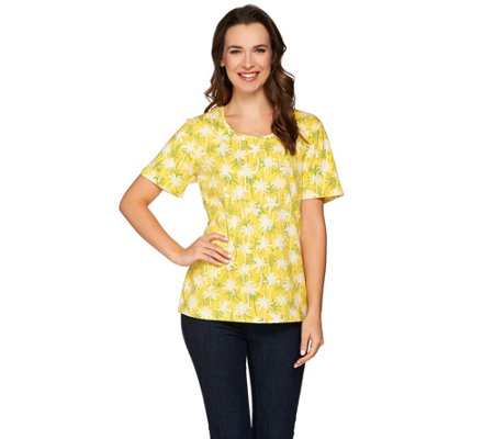 Denim & Co. Short Sleeve Round Neck Tropical Printed Top