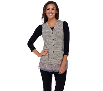 """As Is"" LOGO by Lori Goldstein Sweater Knit Vest w/ Lace & Chiffon Hem - A276267"