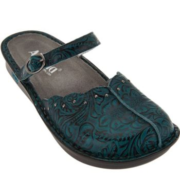 Alegria Leather Slip-on Mary Janes with Adj. Strap - Tuscany