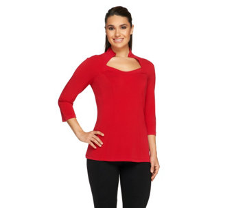 """As Is"" George Simonton Milky Knit Raglan Sleeve Top with Seam Detail - A278367"