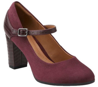 """As Is"" Clarks Suede & Croco Leather Mary Jane Pumps - Bavette Cathy - A278667"