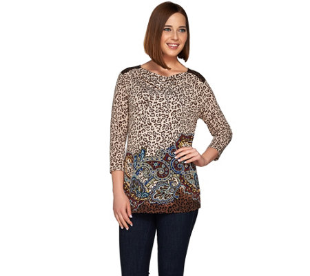 Susan Graver Printed Liquid Knit Drape Neck 3/4 Sleeve Top