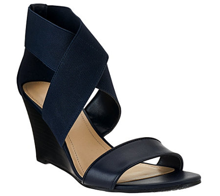 """As Is"" Marc Fisher Stretch Criss-cross Wedges - Cecila"