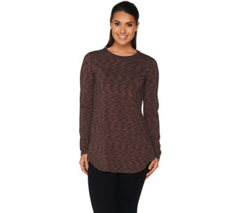 LOGO Layers by Lori Goldstein Space Dye Knit Top with Shirttail Hem - A279467