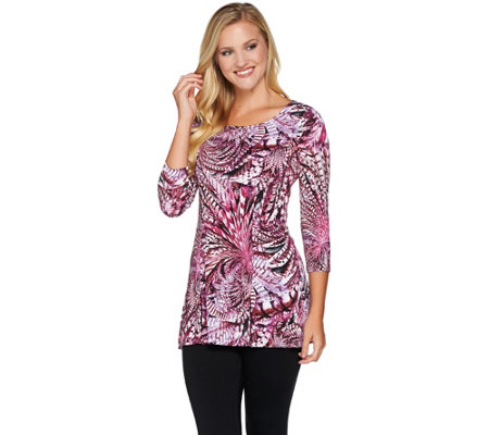Attitudes by Renee Printed 3/4 Sleeve Knit Tunic