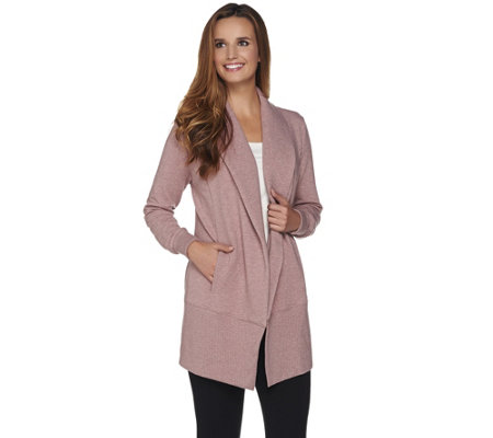 H by Halston French Terry Open Front Jacket with Rib Trim