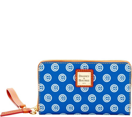 Dooney & Bourke MLB Cubs Zip Around Phone Wristlet
