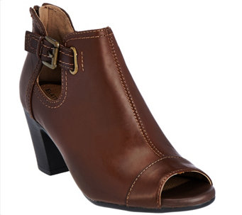 Earth Origins Leather Peep-toe Booties - Sawyer - A282867