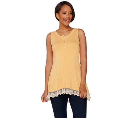 """As Is"" LOGO by Lori Goldstein Knit Henley Tank with Lace Trim"