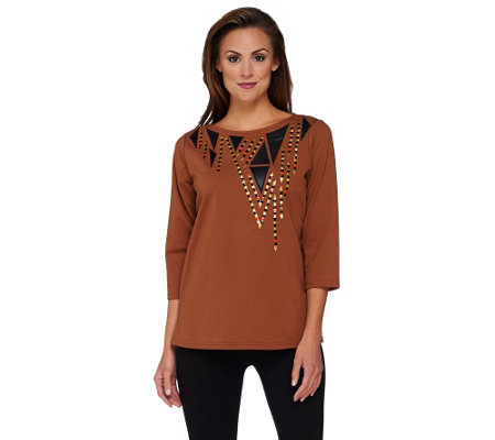 """As Is"" Bob Mackie's Faux Leather Applique and Studded Top"