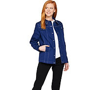 Quacker Factory Stars and Sparkle Woven Button Front Jacket - A287067