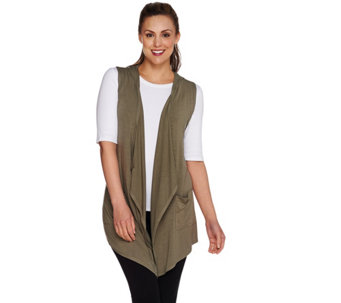 """As Is"" LOGO by Lori Goldstein Open Front Knit Vest with Hood - A287267"