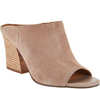 Franco Sarto Snake Textured Suede Peep-toe Mules - Firefly - A288467