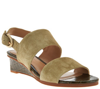 """As Is"" Judith Ripka Leather Wedge Sandals with Backstrap - Zoe - A288967"