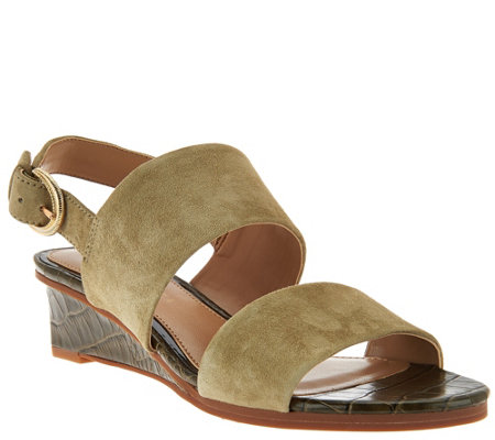 """As Is"" Judith Ripka Leather Wedge Sandals with Backstrap - Zoe"