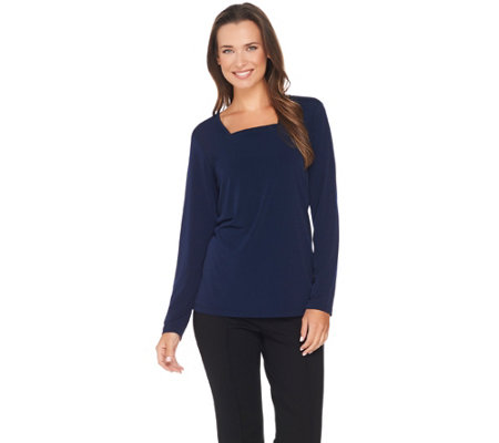 """As Is"" Susan Graver Modern Fit Essentials Liquid Knit Square Neck Top"