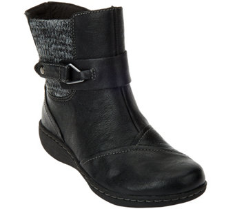 """As Is"" Clarks Leather Ankle Boots w/Knit Panel - Fianna Adley - A291867"