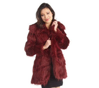 """As Is"" Luxe Rachel Zoe Faux Fur Convertable Collar Coat - A293167"