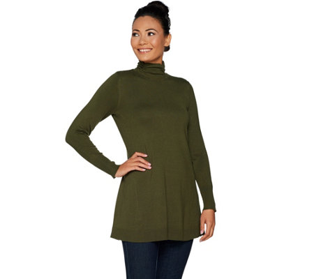 Susan Graver Rayon Nylon Fit & Flare Mock Neck Sweater