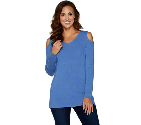 Belle by Kim Gravel Rayon Nylon Cold Shoulder Sweater Tunic