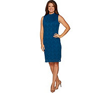 Susan Graver Stretch Lace Mock Neck Dress - A297167