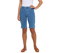 Isaac Mizrahi Live! Regular Knit Denim Bermuda Shorts - A306567