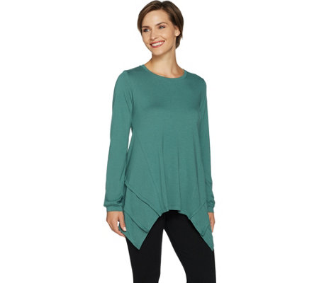 """As Is"" LOGO by Lori Goldstein Long Sleeve Top with Forward Side Seams"