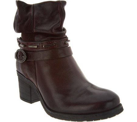 """As Is"" Miz Mooz Leather Block Heel Ankle Boots - Serenity"