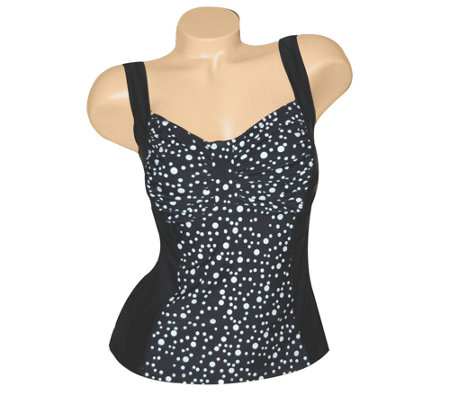 Carol Wior Champagne Bubbles Shirred Bust Tankini Top