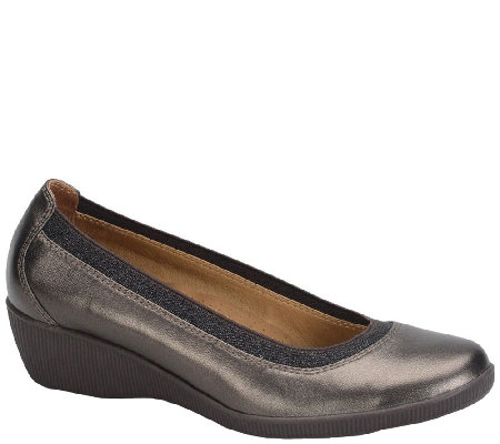 Softspots Smooth Leather Wedge Slip-ons - Stephanie II