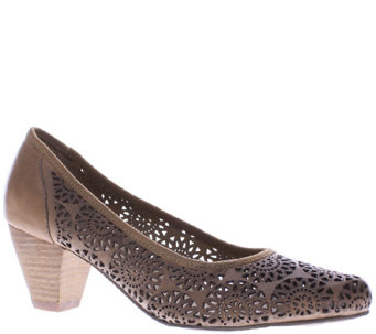 Spring Step Perforated Leather Heels - Abila - A336767
