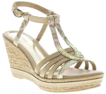 Azura by Spring Step Leather Wedge Sandals - Midsummer