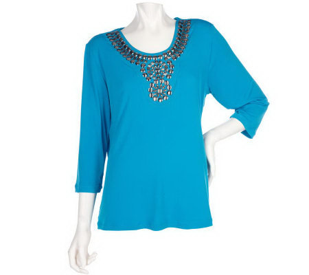 Susan Graver Liquid Knit 3/4 Sleeve Top with Metallic Embellishments