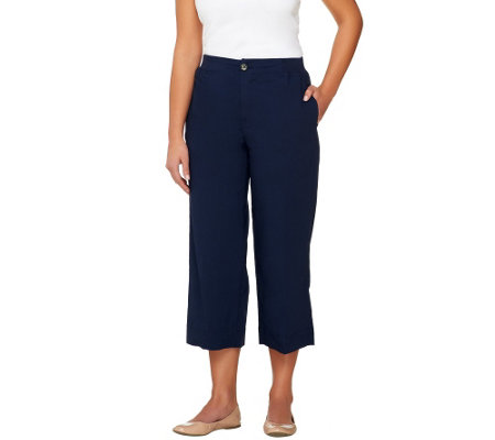 Denim & Co. Classic Waist Stretch Poplin Crop Pants with Ribbed Waist