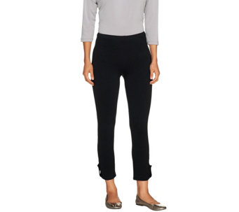 Susan Graver Weekend Stretch Cotton Leggings with Button Detail - A213368