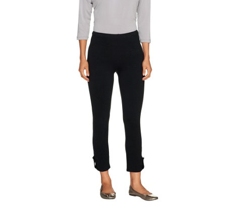 Susan Graver Weekend Stretch Cotton Leggings with Button Detail