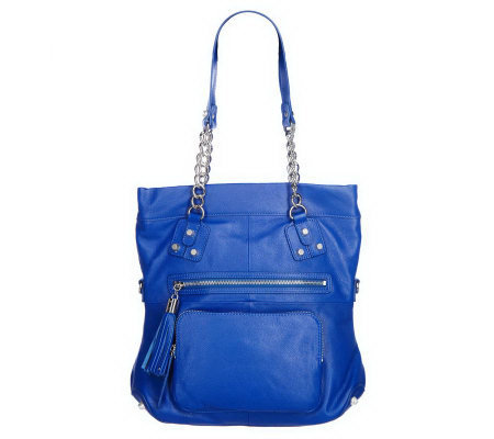 K-DASH by Kardashian Pebble Leather Handbag with Chain Handle