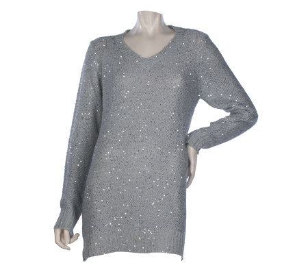 Kris Jenner Kollection Sequin Long Sleeve Sweater